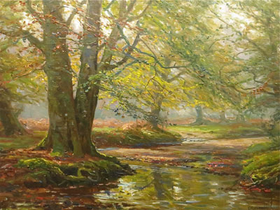 New Forest Stream -Frederick Golden Short - Oil Painting - F.G.Short