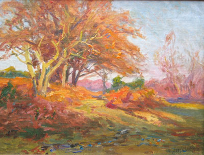 Autumn colours Frederick Golden Short - New Forest Artist Oil Painting - F.G.Short