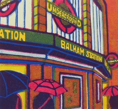 "Gail Brodholt Linocut - ""Passing Showers Balham - London Underground Station."""
