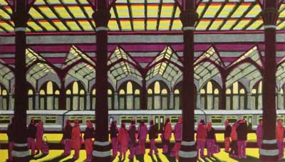 "Gail Brodholt Linocut - ""Home Before Dark - London Liverpool Street Station."""