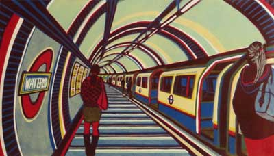 "Gale Brodholt Linocut -  ""West End Girl - Waterloo - London Underground Station."""