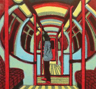 "Gail Brodholt Linocut - ""Downtown Train - Piccadilly Line(?) London"""