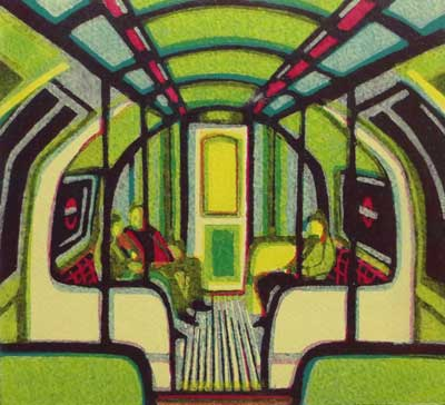 "Gail Brodholt Linocut - ""District and Circle - London Underground"""