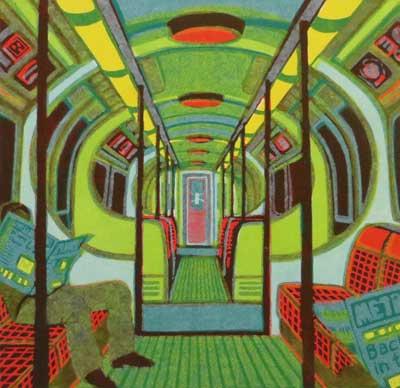 "Gail Brodholt Linocut - ""Metroland II - Bakerloo line - London Underground"""