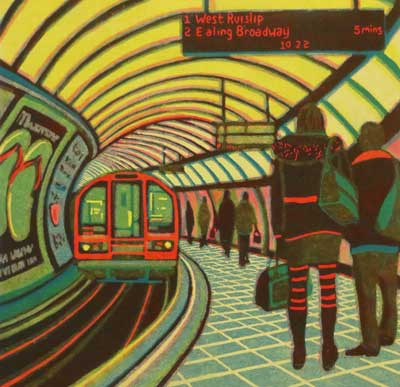 "Gail Brodholt Linocut - ""A Weekend Away - Central Line - London Underground"""