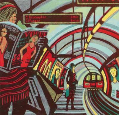 "Gail Brodholt Linocut - ""Retail Therapy - Northern Line - London Umderground"""
