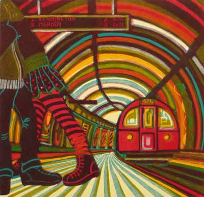 "Gail Brodholt Linocut - ""True Love on the Tube - Northern Line - London """