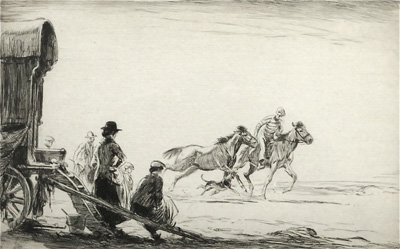 Original signed etching of Ponies