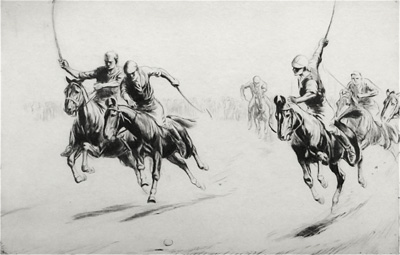 Game of Polo, etching by artist George Soper