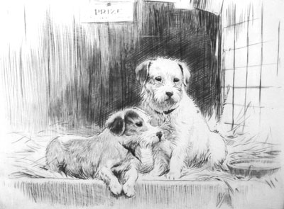 George Soper Artist Etching of Dogs