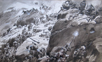 The Onslaught watercolour by artist George Soper