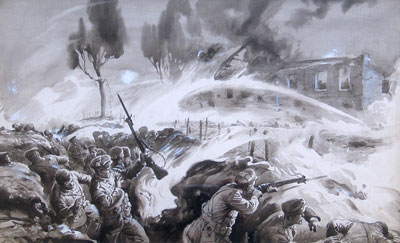 The Flame Attack, Hooge, East of Ypres watercolour by artist George Soper