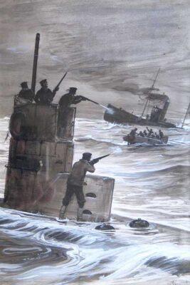 Submarine Attack, watercolour by artist George Soper