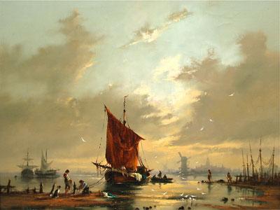 Gudrun Sibbons - Harbour scene artist signed oil painting