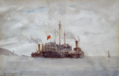 Implacable Towing out of Falmouth by artist Henry Scott Tuke (H.S.Tuke)