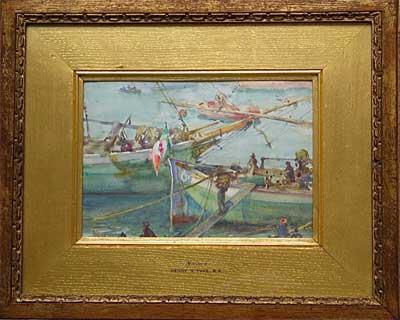 Along the Italian Riviera, boats in Monaco harbour by Artist Henry Scott Tuke (H.S.Tuke)