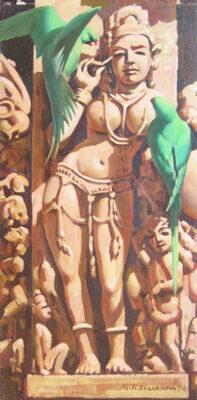 Keith Shackleton Artist Temple - Haunting - Parakeets - Khajuraho.