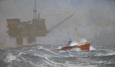Keith Shackleton Artist Winter in the North Sea - Brent Bravo oil rig.
