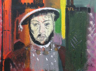 John Piper artist - Portrait of King Henry VIII - original watercolour