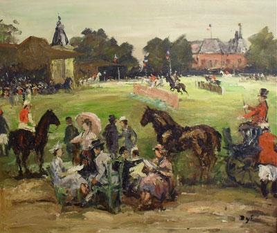 """""""Le Concours Hippique"""" Oil Paining by Marcel Dyf"""