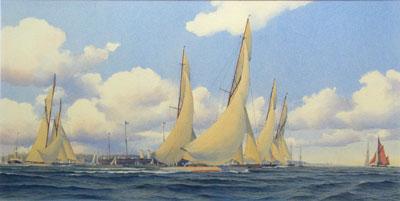 """Martin Swan Artist - R.Y.S. """"Big Class"""" Yachts starting a race - Cowes Week, R.Y.S. """"Big Class"""" Yachts starting a race - Cowes Week,"""