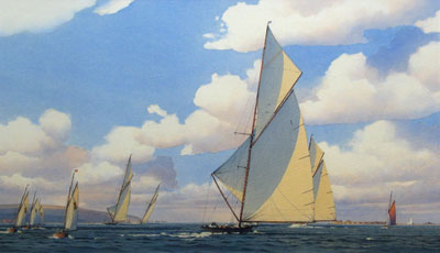 Martin Swan Artist - Yacht racing of Hurst Castle in the Solent with the Needles in the background.