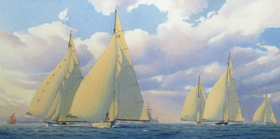 """Martin Swan Artist America's Cup Trial """"Horses"""" 1934. Astra leads Candida, Britannia, Velsheda and Shamrock V"""