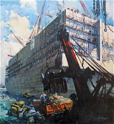 """Terence Cuneo Artist """"Building a Mulberry Harbour"""""""