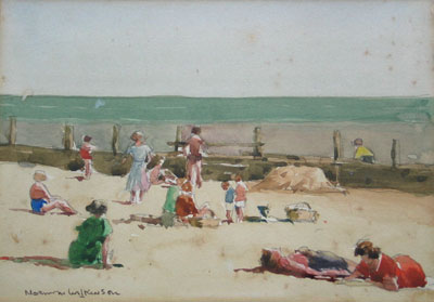 Beach scene watercolour by artist norman wilkinson