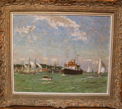 Norman Wilkinson Marine artist - Yacht Racing, Cowes Week, Isle of Wight.