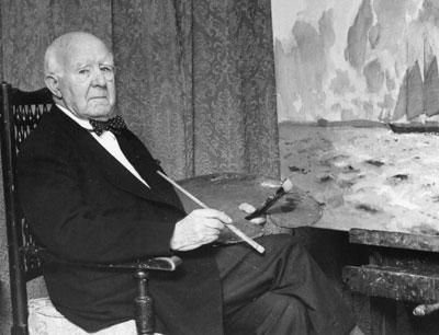 Norman Wilkinson War Artist in his Studio