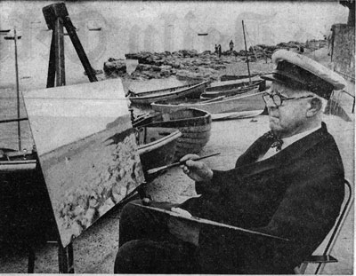 """""""Norman Wilkinson painting at Seaview on the Isle of Wight"""" War Artist"""