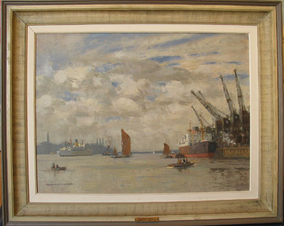 Gallions Reach on the Thames Estuary near to Woolwich Ferry, Greenwich, London by Norman Wilkinson Artist