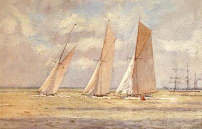 Cowes Week - On board Liberty 1920 by marine artist Norman Wilkinson