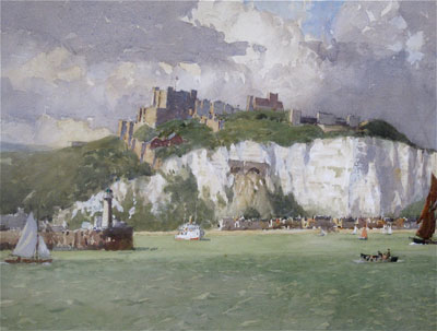 Dover Harbour, showing Dover Castle in Kent. by Norman Wilkinson