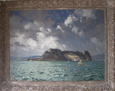 Norman Wilkinson Marine Artist Shipping off Gibraltar showing Europa Point and Catalan Bay with water catchment above. Medium: Original signed oil painting