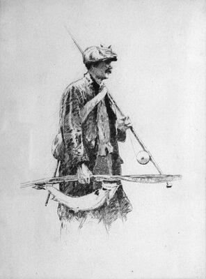 Gillie - original etching by Norman Wilkinson Fishing Artist