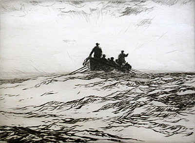 The Survivors - drypoint etching by Norman Wilkinson