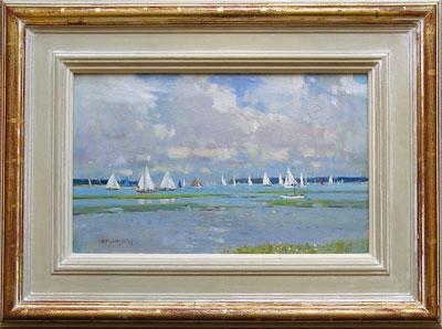 "Robert King Marine Artist - ""Sailing off the Lymington River."""