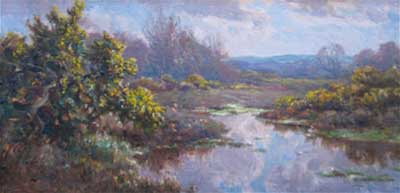 Frederick Golden Short - New Forest Pond - Artist Oil Painting - F.G.Short