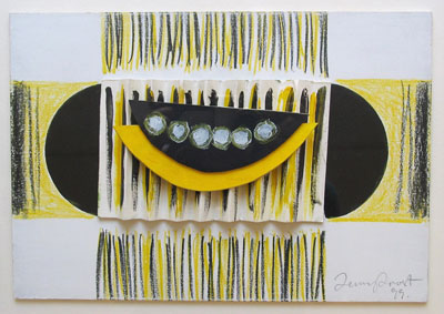 """Sir Terry Frost Artist - """"Yellow and Black original 3D collage."""""""