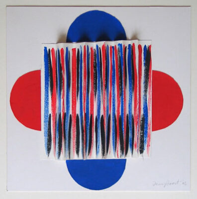 """Sir Terry Frost artist - """"Red and Blue original 3D collage."""""""