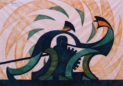 Sybil Andrews Linocut artist the Winch
