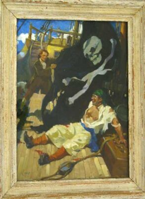 "Terence Cuneo Artist ""An incident from ""Treasure Island"" (Jim Hawkins strikes the pirate flag)"""