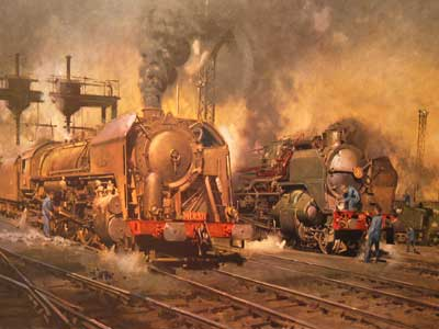 """Stabling For Giants 1973"" by Railway artist Terence Cuneo"