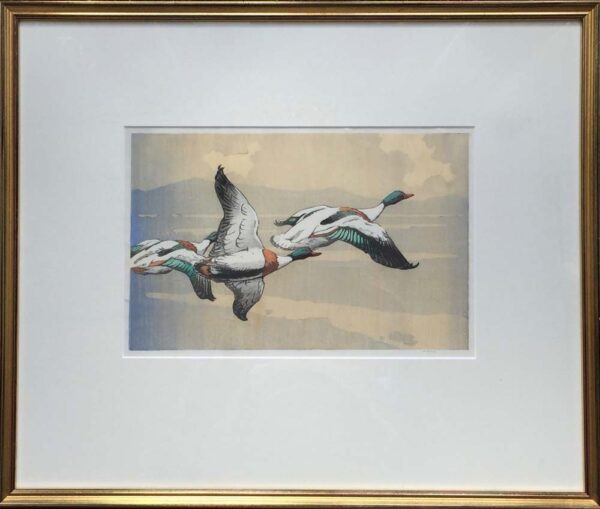 Allen William Seaby woodcut flying ducks