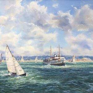 Barry Peckham Painting MV Balmoral in the Solent