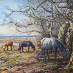 Barry Peckham Painting ponies Lymington