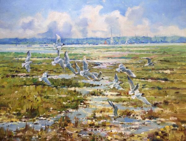 Barry Peckham Painting Lymington River Seagulls