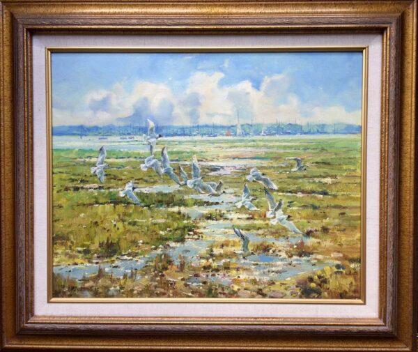 Barry Peckham Painting Lymington River Seagulls